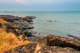 view of the sea horizon and the rocky shore - 78356460