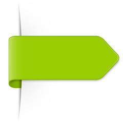 Langer hellgrüner Sticker Pfeil mit Schatten und Textfreiraum