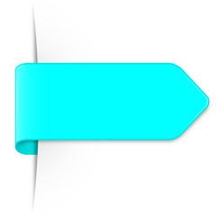 Langer lichtblauer Sticker Pfeil mit Schatten und Textfreiraum