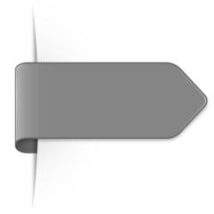 Langer grauer Sticker Pfeil mit Schatten und Textfreiraum