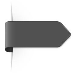 Langer dunkelgrauer Sticker Pfeil mit Schatten und Textfreiraum
