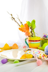 Easter composition table tableware person