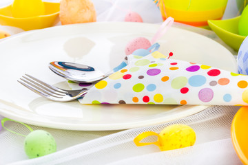 Cutlery wrapped napkin Easter table