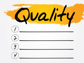 Quality Blank List, vector concept background