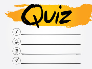 Quiz Blank List, vector concept background