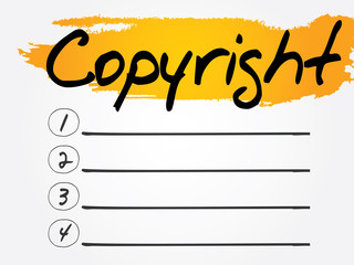 Copyright Blank List, vector concept background