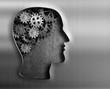 Zdjęcia na płótnie, fototapety, obrazy : Brain model from gears and cogs in metal plate.