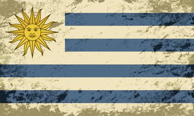 Uruguayan flag. Grunge background. Vector illustration