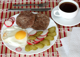 Breakfast fried egg and meatballs
