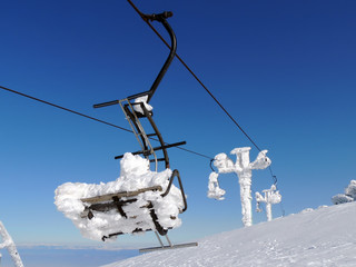 Chairlift in Frost