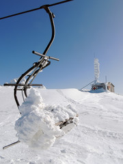 Chairlift And Mountain Rescue Service In Snow