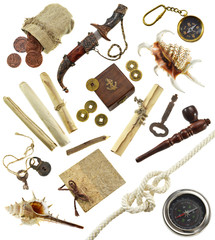 Adventurous set with pirate and detective objects