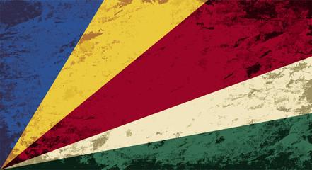 Seychelles flag. Grunge background. Vector illustration