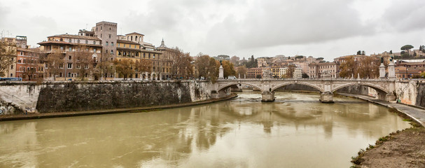 View at Tiber riverbank in Rome.