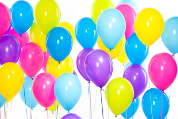 Bright bunch of colorful balloons background