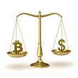 Classic scales of justice with bitcoin and dollar symbols
