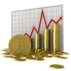 Stacks of coins with bitcoin symbol against a currency chart