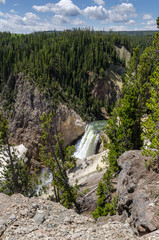 Yellowstone waterfall in Yellowstone national park