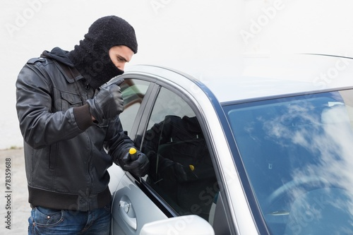 Poster Thief breaking into a car