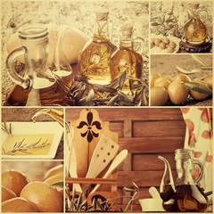 Extra virgin olive oil collage