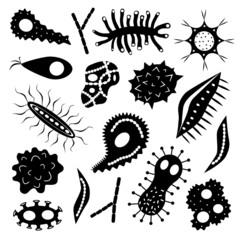 Cartoon various microbes