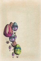 Vintage decoration of eggs balloons