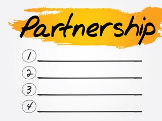 Partnership Blank List, vector concept background