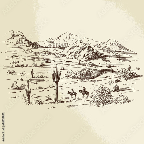 wild west - hand drawn illustration - 78359882