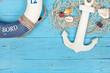 canvas print picture - Rettungsring und Anker