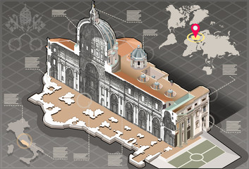 Isometric Infographic of Saint Peter in Rome Centre Section