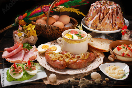 easter traditional dishes on rural wooden table - 78361049