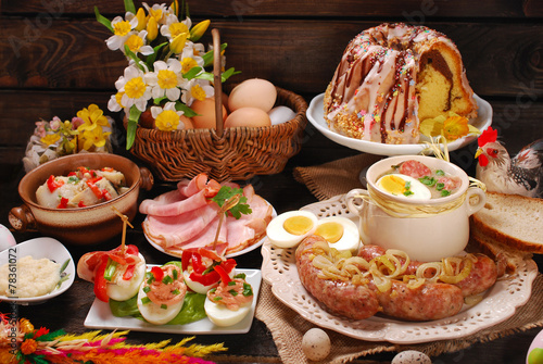 easter traditional dishes on rural wooden table - 78361072