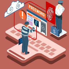 Isometric Infographic Thief Biometric Recognition - Access Denie