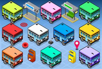 Isometric Rainbow Buses