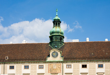 Sundial and mechanical watches on Amalienburg in Hofburg, Vienna