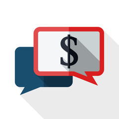 Vector speech bubbles icon with dollar sign on white background