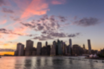 New York Downtown at Sunset. Blurred Background.
