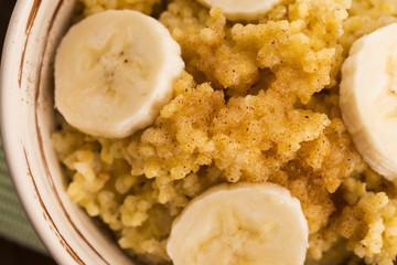 Fresh millet porridge with banana