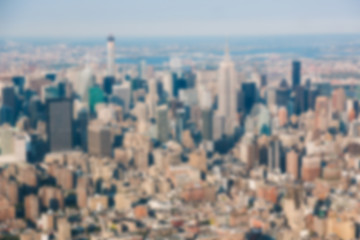 New York Aerial View from Helicopter. Blurred Background.