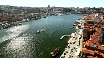 Top View of Douro river at center of Porto, Portugal.