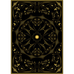 Decorative gold oriental pattern on a black background.
