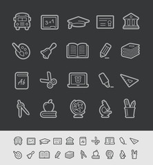 School and Education Icons -- Black Line Series