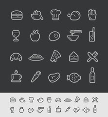 Food and Drink Icons 1 -- Black Line Series