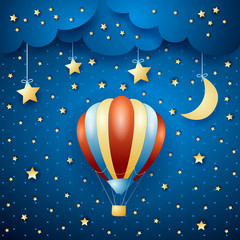 Night landscape with hot air balloon