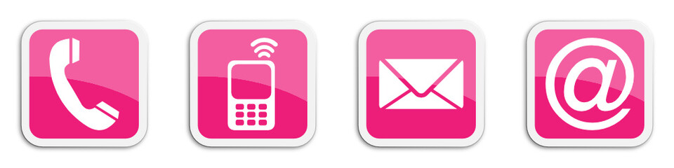 Four contacting sticker symbols in magenta - cube