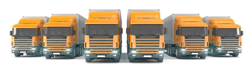six orange cargo trucks parked in a row