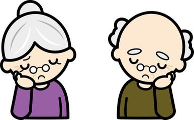 考える・老夫婦