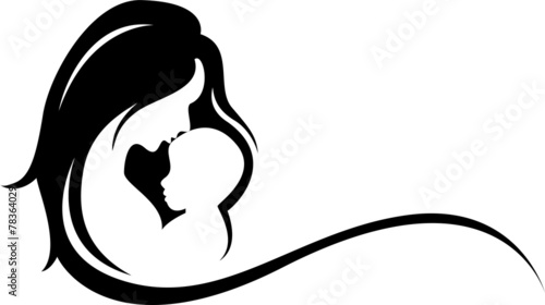 mother and baby silhouette - 78364029