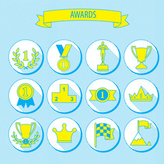set_of_vector_award_success_and_victory_flat_icons_on_round_web_