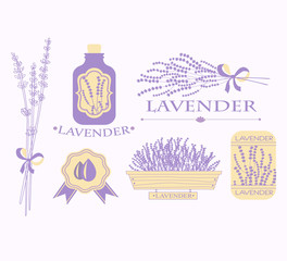 Vintage lavender background, aromatherapy and spa packaging
